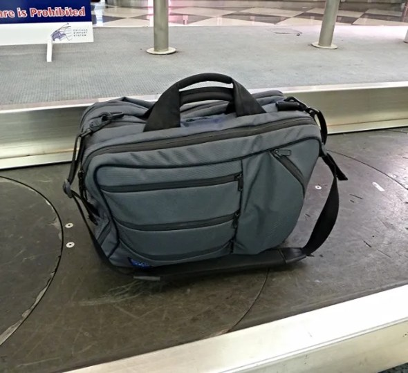 The Tom Bihn Tri-Star in a place you'll likely rarely see one - on the baggage carousel.