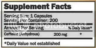 nutrafx caffeine ingredients