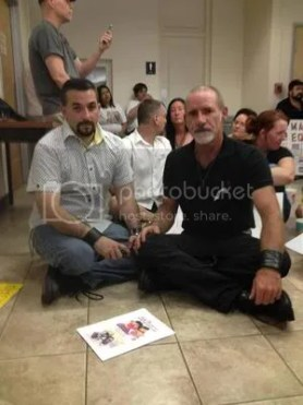 "Major ""Mark"" Jiminez and Beau Chandler trying to get a marriage license at the Dallas County Clerk's Ofice"