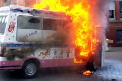 Thrifty Ice Cream Owner Carmela Barbaro Was Hauled Out Her Van Seconds Before Itwent Up An Electrical Hadjust Dramatic Moment Ice Cream Van Explodes Into A Fireball Mirror Online Flames As A Result