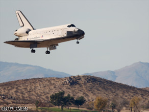 NASA opted to land the shuttle in California on Sunday, because of bad weather at Kennedy Space Center.