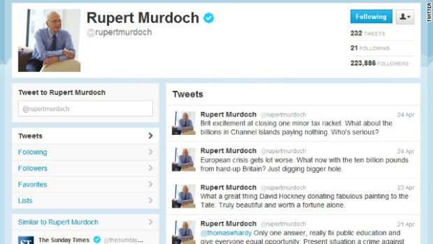 Rupert Murdoch says his tweets mustn't be taken 