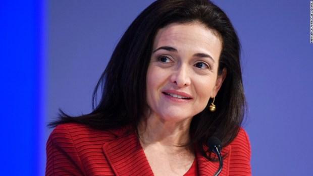 Sheryl Sandberg tears up during speech