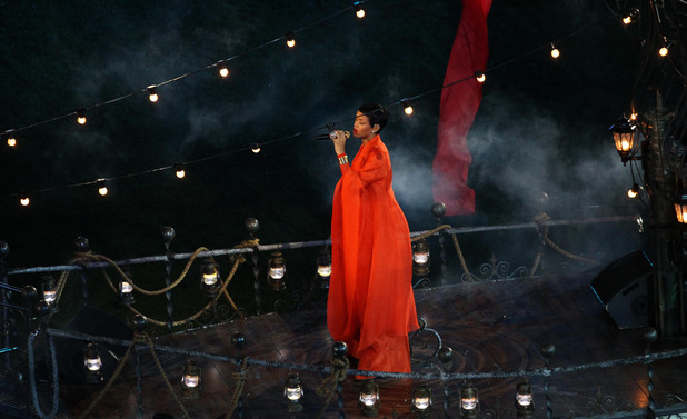 Rihanna performs during the Paralympic Games closing Ceremony at the Olympic Stadium