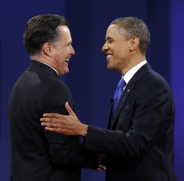 Final presidential debate: Barack Obama, Mitt Romney shake hands at the conclusion.