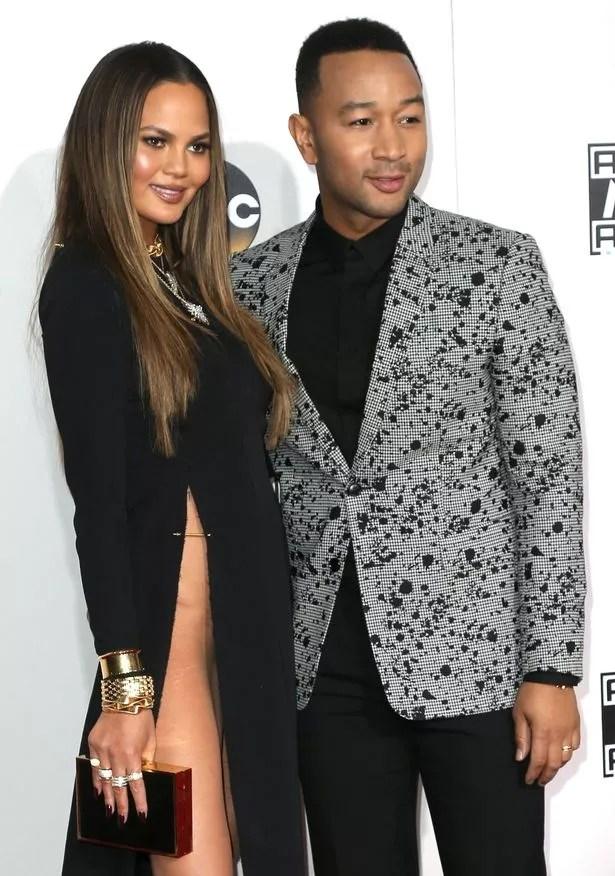 Model Chrissy Teigen (L) and singer-songwriter John Legend