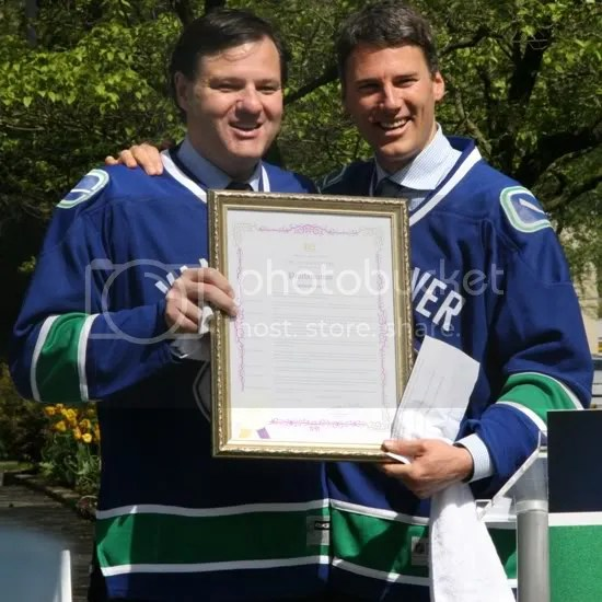 Aquilini and Gregor Roberts at Canucks Day