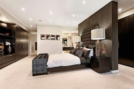romantic bedroom design idea with timber & built in