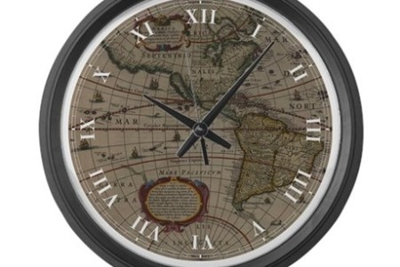 Map room clock ancient world map 1630 large wall clock colorblackheight460width460qv gumiabroncs Gallery