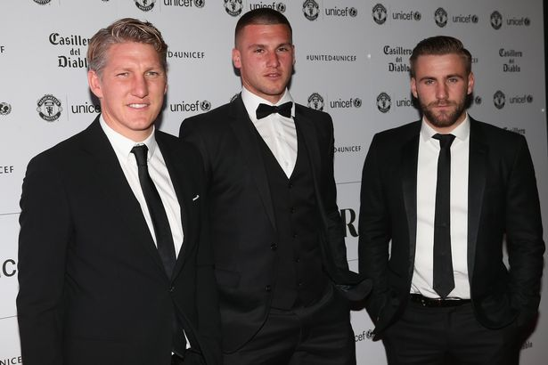 Bastian Schweinsteiger, Sam Johnstone and Luke Shaw