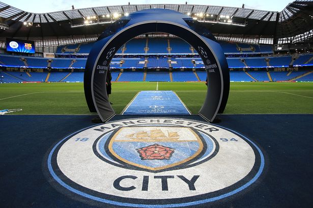 general view of the pitch ahead manchester city fc v barcelona match