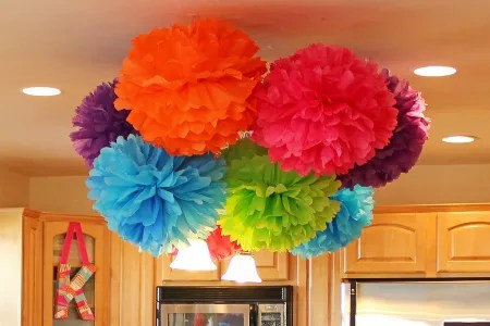 tissue poms chandelier, tissue poms ceiling decoration, first birthday party, colorful birthday party, tissue poms