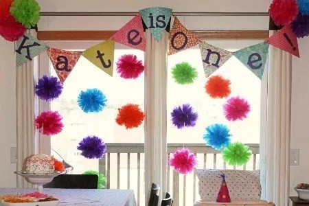 first birthday party, colorful birthday party, tissue poms