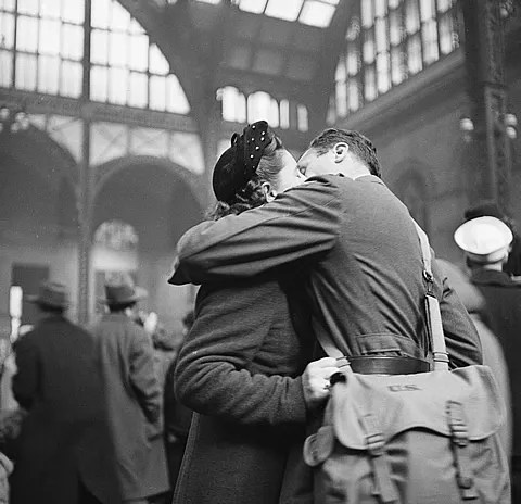 American soldier kissing his girlfriend at Pennsylvania Station in New York. 1944.