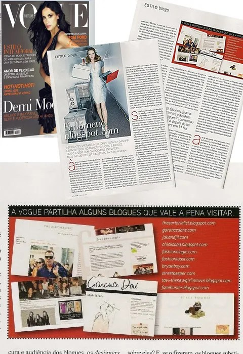 Photo of Demi Moore on the cover of Vogue Portugal, article on fashion bloggers