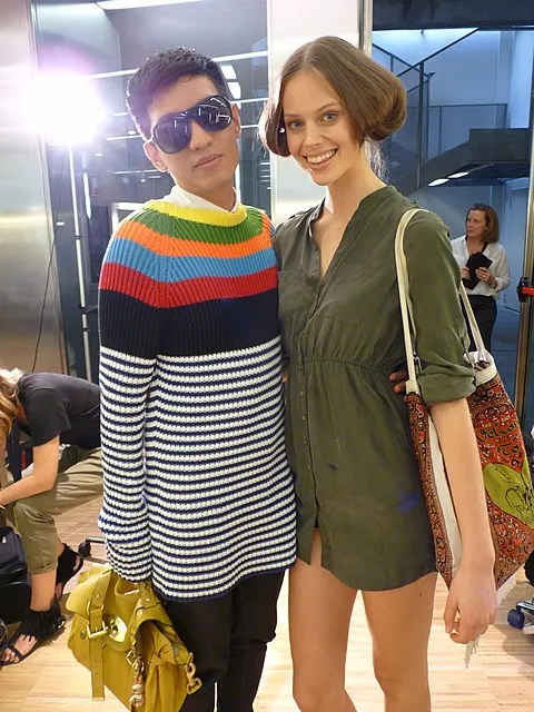photo of Bryanboy and Jessica Clarke backstage at D&G Spring Summer 2011