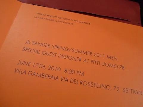 Jil Sander fashion show invitation Spring 2011 menswear