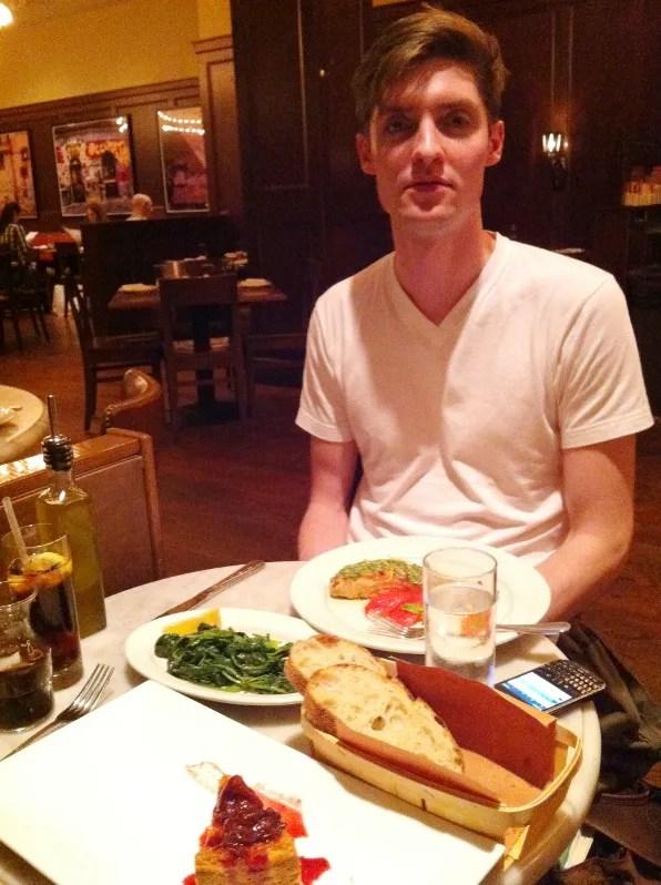 Alex O'Neill having lunch at Bar Stuzzichini, New York