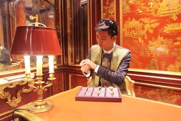 Bryanboy looking at rings at Boucheron, Paris