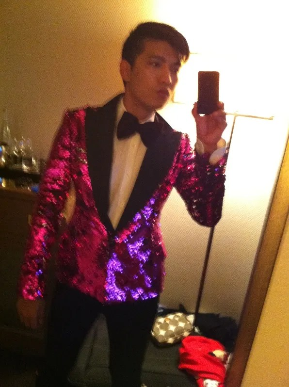 Bryanboy at Soho Grand Hotel dressing up in Dolce & Gabbana fall winter 2011