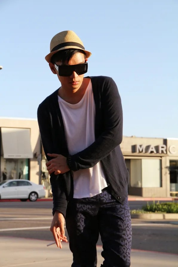 Bryanboy in front of Marc by Marc Jacobs store in Los Angeles, California