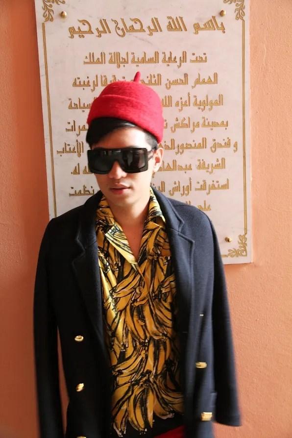 Bryanboy outside Palais des Congres, Marrakech