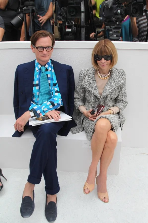Hamish Bowles and Anna Wintour at Chanel spring summer 2012 fashion show