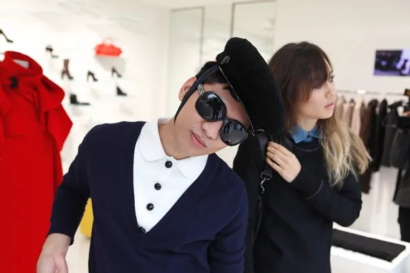 Bryanboy and Rumi Neely inside the Costume National boutique