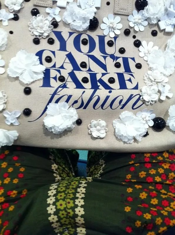 Peter Som for CFDA You can't fake fashion bag and floral shorts