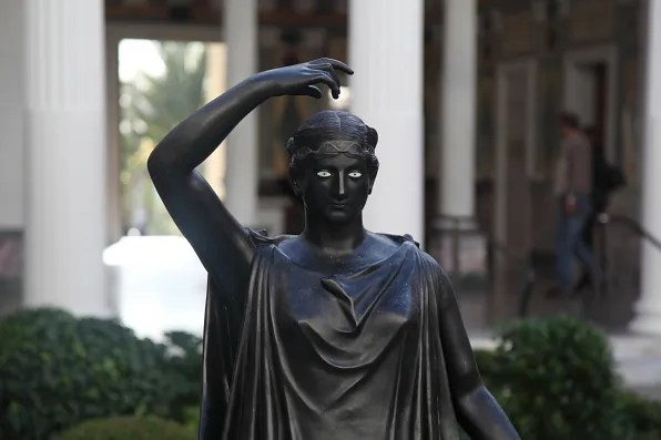 A statue at the Getty Villa inner peristyle