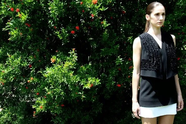 Ania wearing a Givenchy dress fall winter 2011