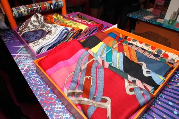 Hermes silk scarves for sale at the Hermes pop-up store in Omotesando, Tokyo
