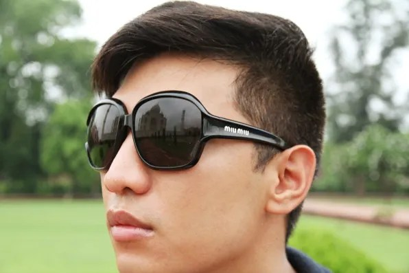 Taj Mahal reflection on Bryanboy's Miu Miu sunglasses