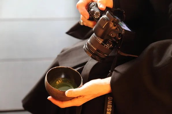 Diane Pernet having tea at Cha Ginza