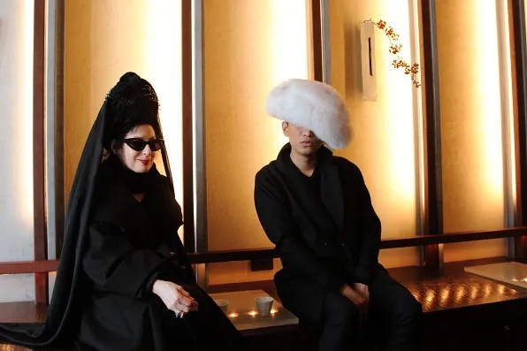 Diane Pernet and Bryanboy having tea at CHA Ginza