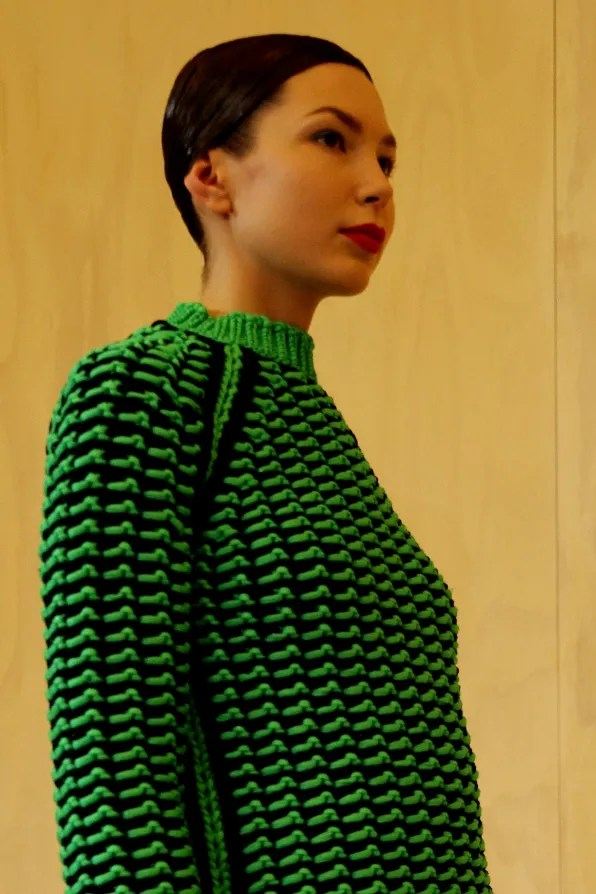 Green and black knitted sweater from Jil Sander Fall Winter 2011 2012
