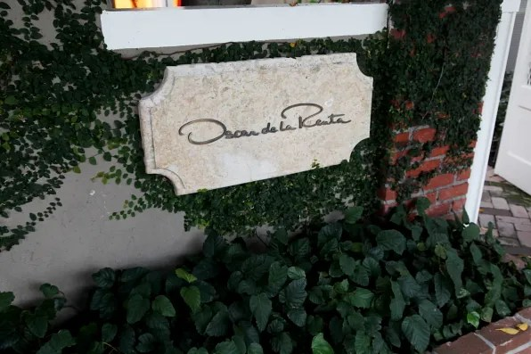 A signage from the Oscar de la Renta store in Los Angeles