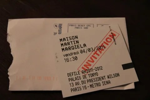 maison martin margiela fall winter 2011 fashion show invitation