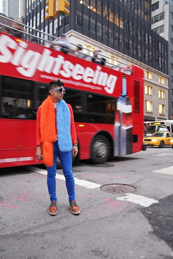 Bryanboy in front of a New York City Sightseeing Bus