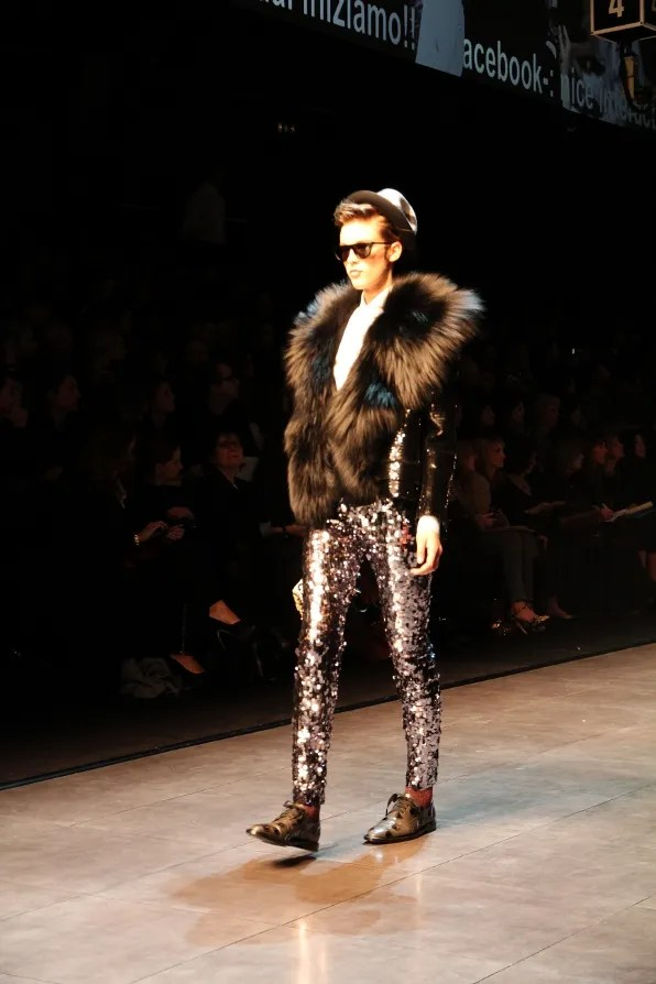Runway look - silver Dolce & Gabbana sequined leggings from fall/winter 2011 collection