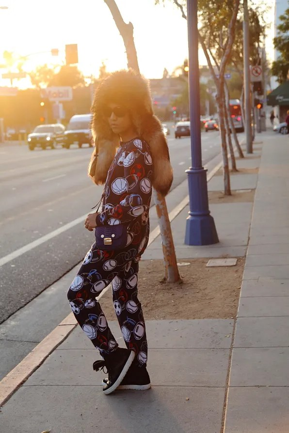 Bryanboy wearing a sleepsuit in West Hollywood, Los Angeles