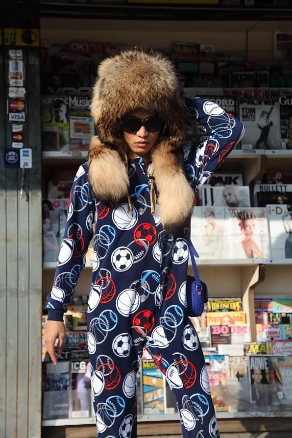 Bryanboy wearing a printed sleepsuit