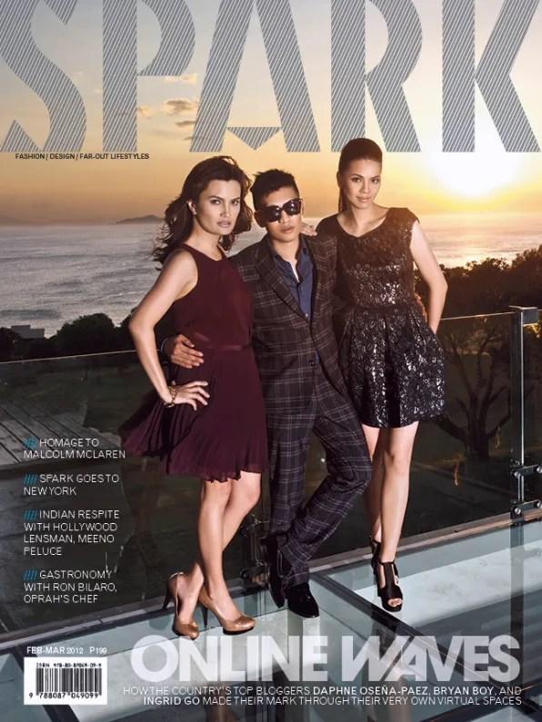 Ingrid Chua Go, Bryanboy and Daphne Osena-Paez on the cover of Spark Magazine Philippines