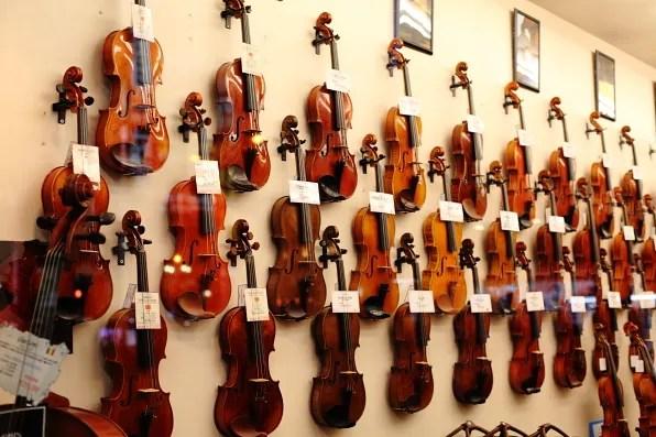 Violin shop in Shinjuku, Tokyo