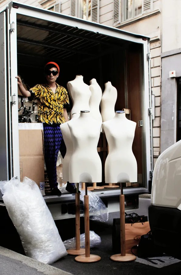 Bryanboy inside a fashion truck on via Montenapoleone