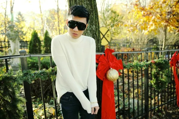 Bryanboy wearing a white Theory turtleneck