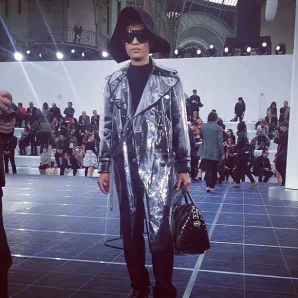 Bryanboy in a transparent Sonia Rykiel rain coat