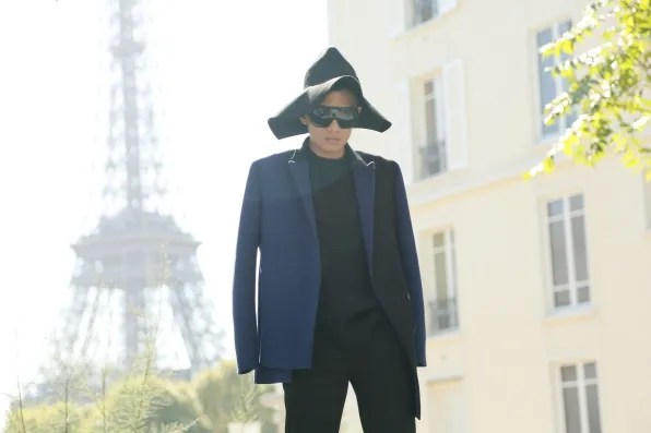 Bryanboy wearing a Costume National hat from fall winter 2012 collection