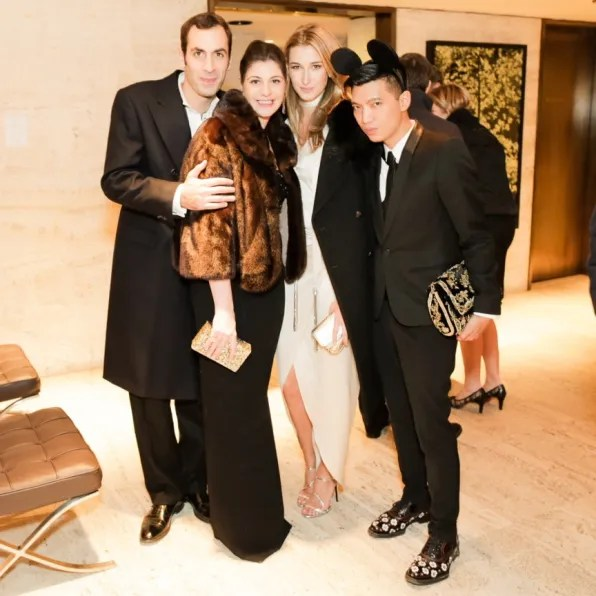 Roberto Magnoni, Maria Giulia Maramotti, Lauren Remington-Platt and Bryanboy at 2012 Memorial Sloan-Kettering Cancer Center Fall party at Four Seasons Restaurant, New York
