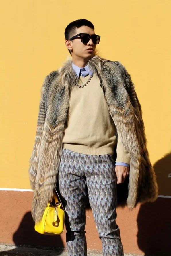 Bryanboy wearing a Roberto Cavalli fur coat